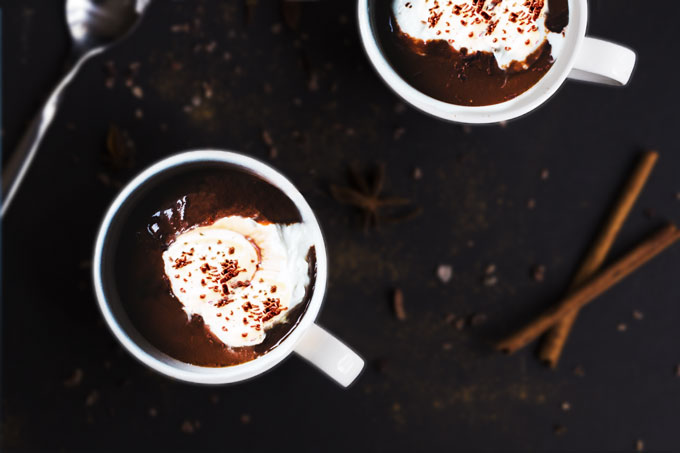 vegan hot chocolate with coconut whipped cream
