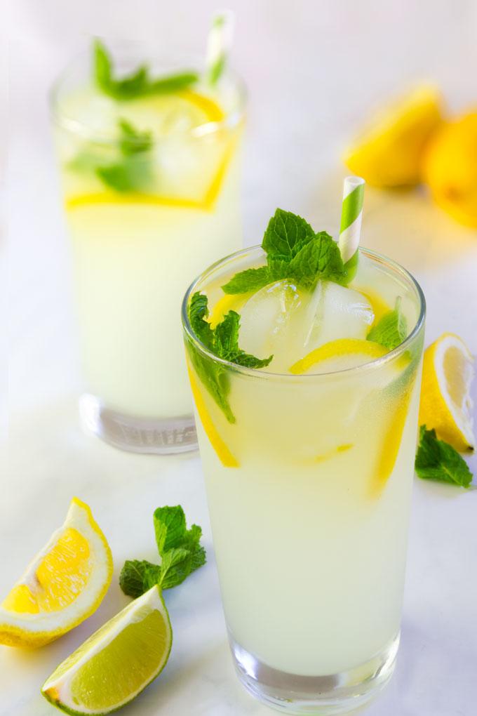 homemade lemon mint lemonade - healthy, sugar-free