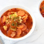 vegetable soup with carrots, celery, potatoes