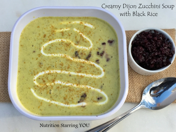 Creamy Dijon Zucchini Soup with Black Rice