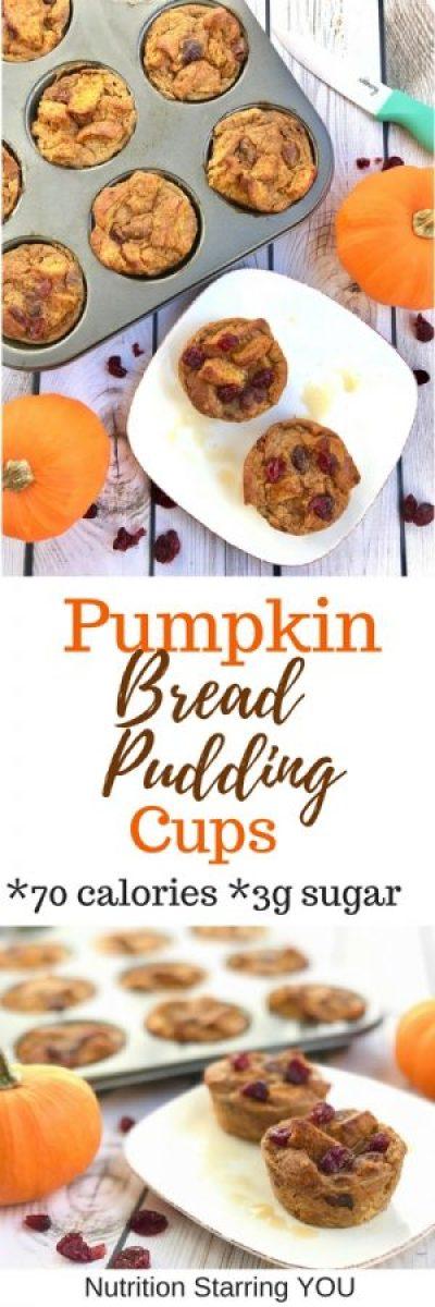 Pumpkin Bread Pudding Cups