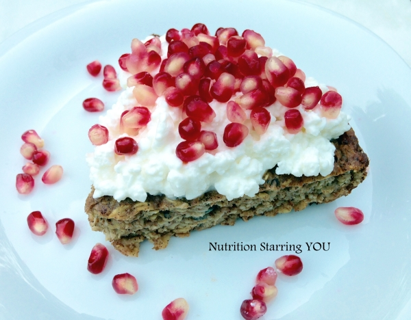 Cottage Cheese and Pomegranate Oatmeal Breakfast Pie
