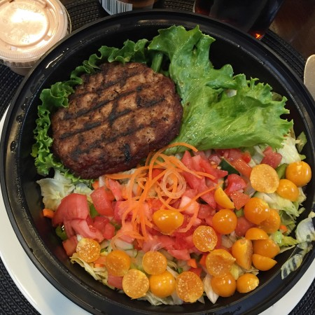 Turkey Burger over salad with Pichuberries