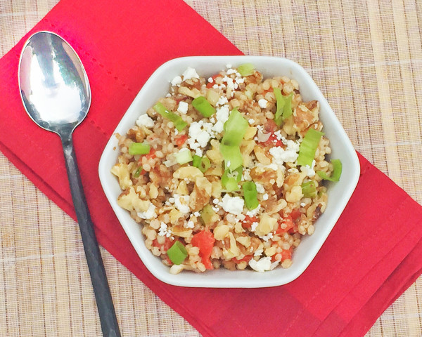 Balsamic Sorghum with Peppers, Walnuts and Goat Cheese