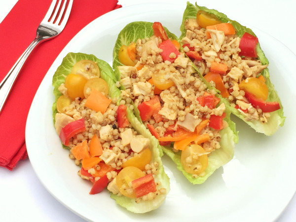 Sorghum, Chicken and Veggie Lettuce Wraps