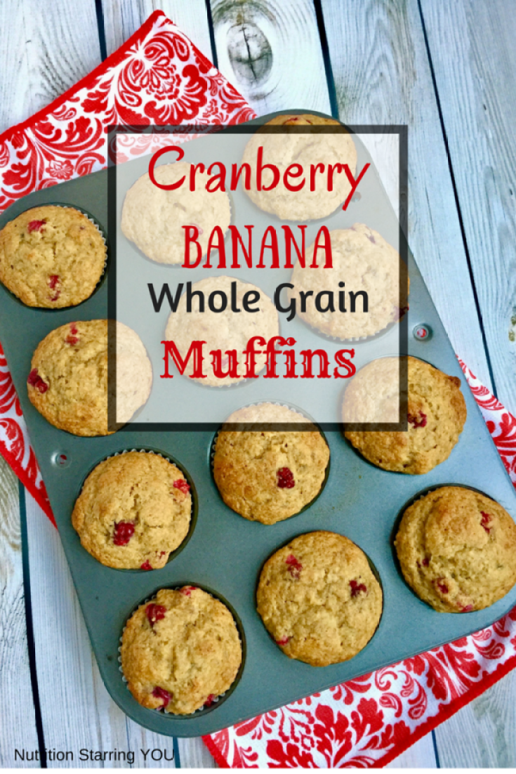 Cranberry Banana Whole Grain Muffins