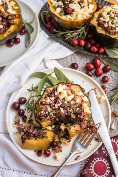 Cranberry Stuffed Acorn Squash