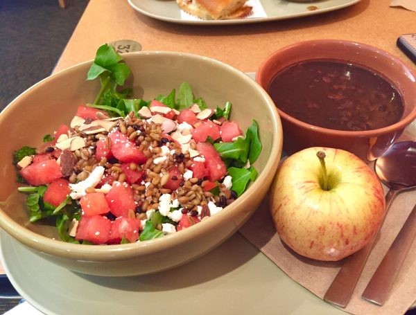 Panera Black Bean Soup with Watermelon Feta Salad and apple