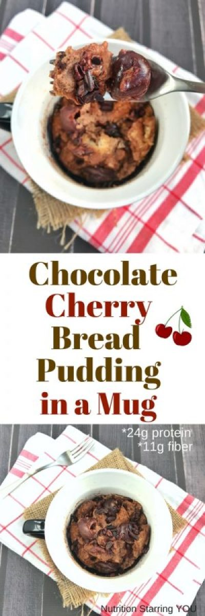 Chocolate Cherry Protein Bread Pudding in a Mug