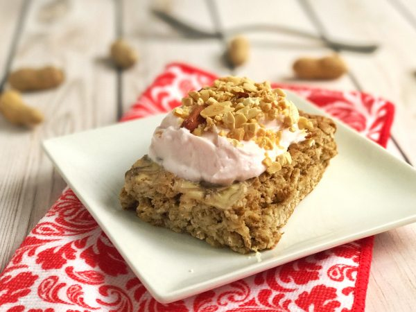 Peanut Butter Banana Protein Baked Oatmeal with strawberry Greek yogurt and peanuts