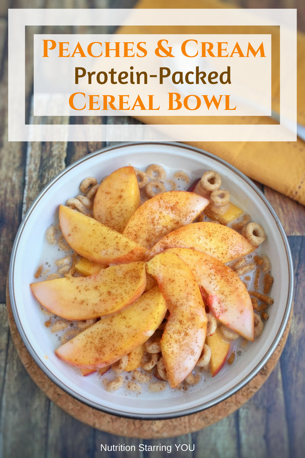 Peaches and Cream Protein-Packed Cereal Bowl pin
