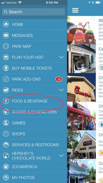 Hershey Park Dining App