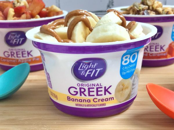 Banana Cream Greek yogurt cup with bananas and peanut butter