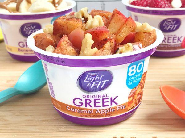 Caramel Apple Pie Greek yogurt with sautéed apples and walnuts