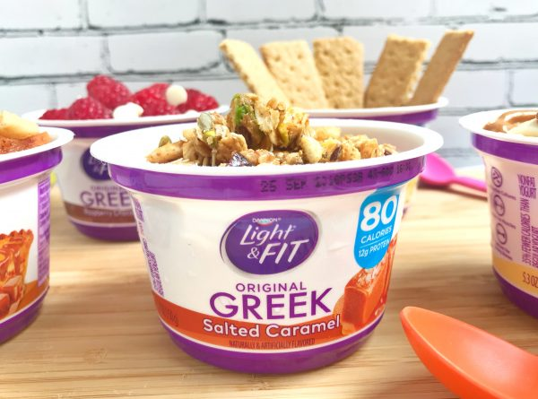 Salted Caramel Dannon Light and Fit with crumbled Cranberry Pistachio Granola Bar