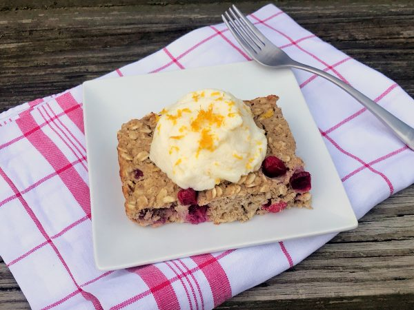 Cranberry Orange Protein Baked Oatmeal with Orange Ricotta
