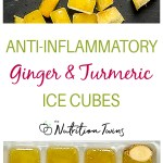 Ginger root, turmeric powder, and ginger turmeric ice cubes in a tray