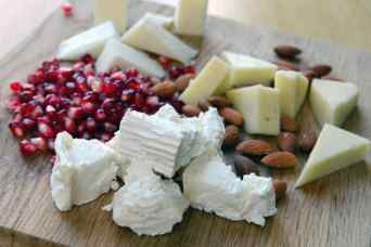 Cheese, almonds, pomegranate seeds