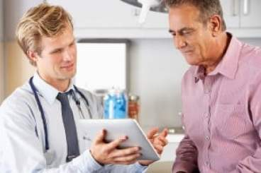 Doctor and man discussing health