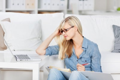 Studying woman with laptop