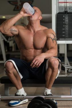 Bodybuilder whey protein shake