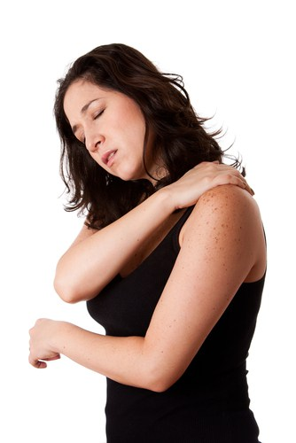 Woman in joint or shoulder pain