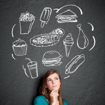 Girl thinking of food