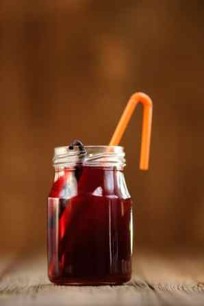 Cherry juice in a jar