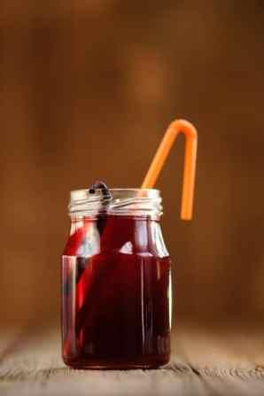 Cherry juice in a jar