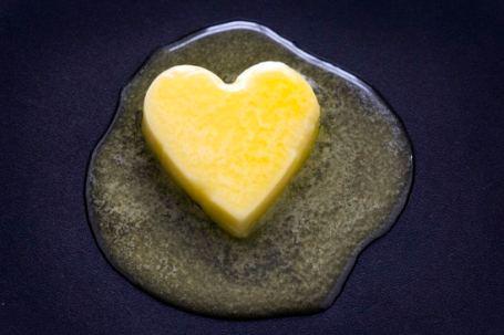 Butter melting, heart shape