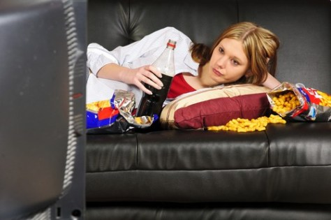 Girl with junk food