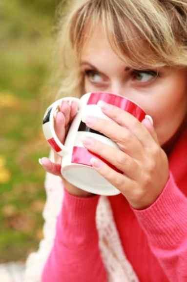 Drinking hot coffee