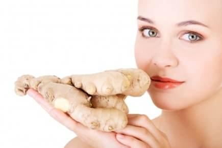 Girl smelling ginger
