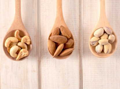 Selection of nuts, including almonds and cashews