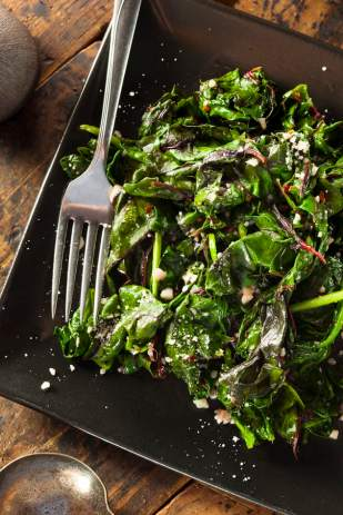 Healthy cooked Swiss chard