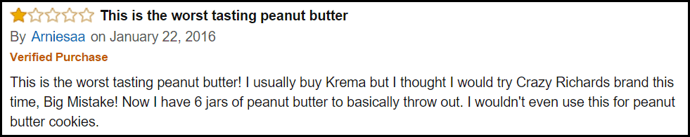 Peanut butter Amazon review