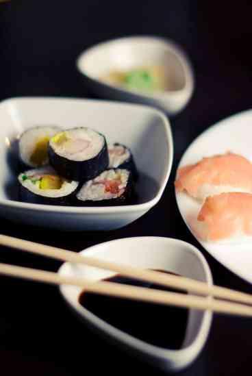 Servings of Japanese food