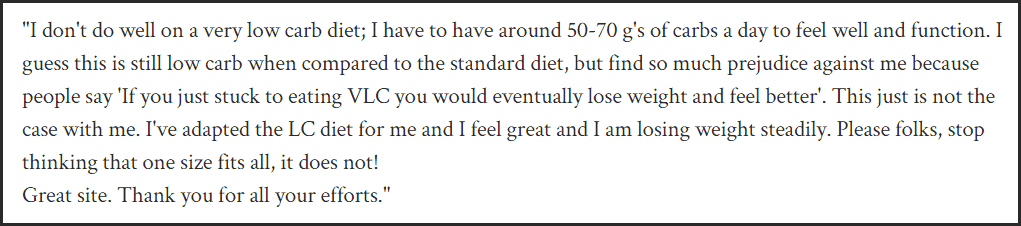 Comment on low carb diets