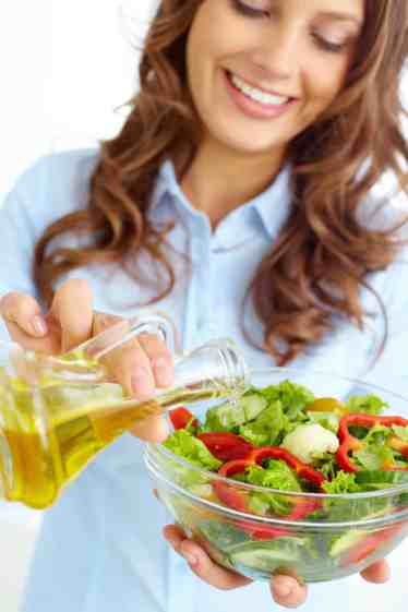 Olive oil on a salad