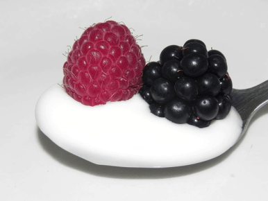 Yogurt on a spoon