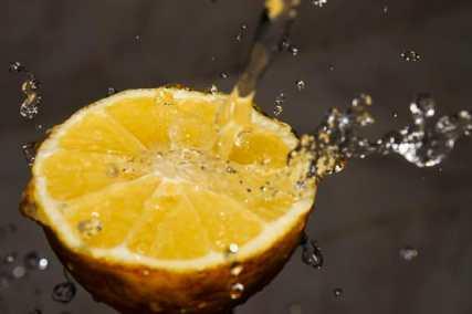 Water on a lemon