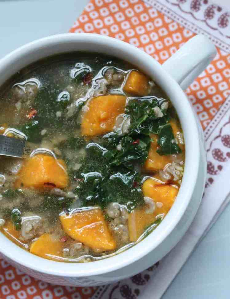 Turkey Sausage, Kale and Pumpkin Soup