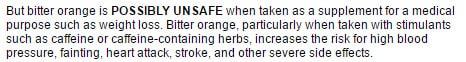 Bitter orange: Possibly Unsafe