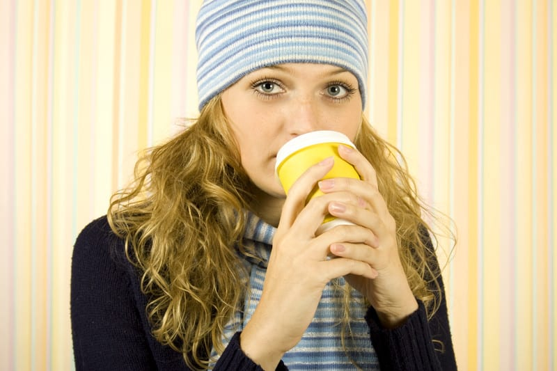Drinking coffee in the winter