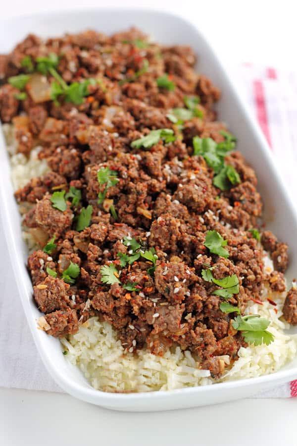 Paleo Spicy Korean Ground Beef and Cauliflower Rice