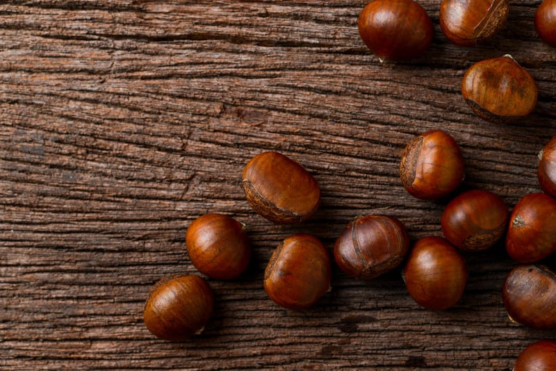 Roasted chestnuts on a table