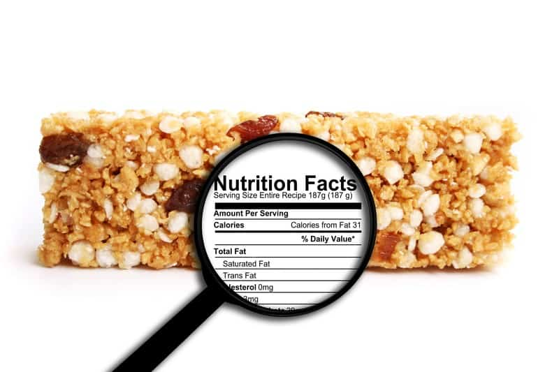 Nutrition facts for a protein bar