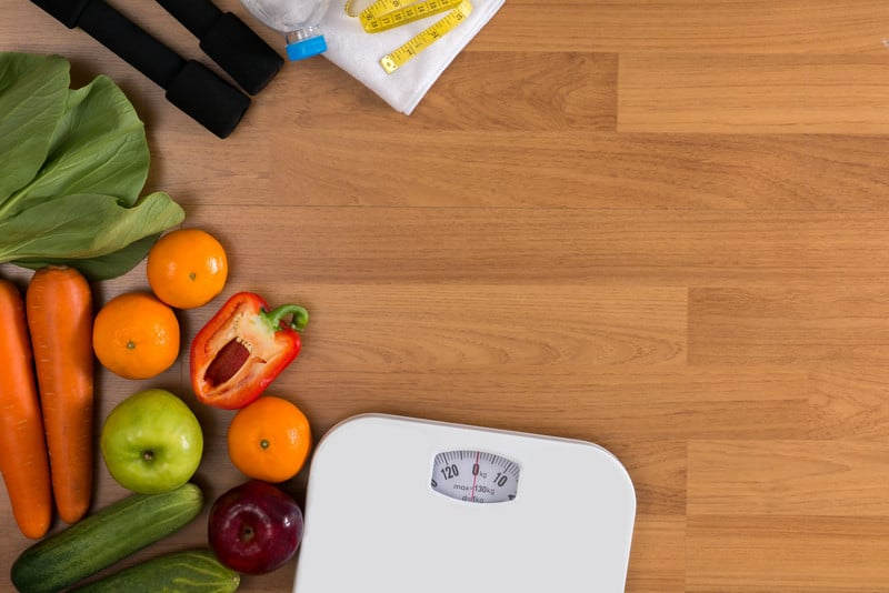 Concept of healthy food and weight loss