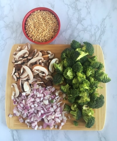 farro and chopped vegetables