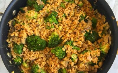 Vegetable Farro Skillet with Tahini Sauce